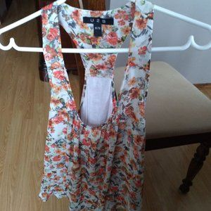 Orange and White Foral Top (M)